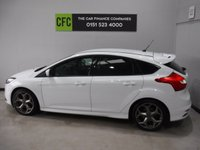 USED 2013 62 FORD FOCUS 2.0 ST-2 5d 247 BHP AMAZING CAR , TWO OWNER SERVICE HISTORY, FINISHED IN GLEAMING WHITE THE CAR HAS SOME GREAT OPTIONS, LED DAY TIME LIGHTS, FULL ST PACK, BOOST GAUGES, ELE KEYLESS ENTREE,  HALF LEATHER RECARO SEATS,  18INCH UP GRADED ALLOYS, ELEC FOLDING MIRRORS BLUETOOTH PHONE PREP, TWIN EXHAUSTS