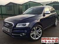 USED 2013 63 AUDI Q5 3.0 SQ5 TDI QUATTRO 5d AUTO 309 BHP STUNNING BLUE MET WITH FULL SQ5 SPORT BLACK LEATHER TRIM. ELECTRIC SEATS. SATALITE NAVIGATION. CRUISE CONTROL. 20 INCH ALLOYS. COLOUR CODED TRIMS. PRIVACY GLASS. PARKING SENSORS. BLUETOOTH PREP. MULTI MEDIA SCREEN. CLIMATE CONTROL. TRIP COMPUTER. R/CD/MP3 PLAYER. MFSW. MOT 10/19. SERVICE HISTORY. PRESTIGE SUV CENTRE - LS24 8EJ. TEL 01937 849492 OPTION 1