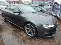 "USED 2013 13 AUDI A5 2.0 TDI QUATTRO S LINE BLACK EDITION S/S 2d AUTO 174 BHP 19"" WHEELS , BLACK LEATHER, B & O SOUND, STUNNING EXAMPLE,F.S.H"