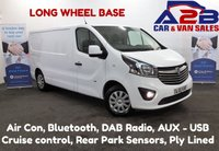 2015 VAUXHALL VIVARO 1.6 CDTi SPORTIVE 2900 115 BHP LONG WHEEL BASE, One Owner, Bluetooth, Air Con, Cruise Control, DAB Radio, Ply-Lined, Rear Parking Sensors **Drive Away Today** 01709 866668 £9480.00