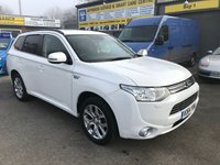2014 MITSUBISHI OUTLANDER 0.0 PHEV GX 4HS 5d AUTO 162 BHP IN WHITE WITH BLACK LEATHER,SAT NAV,REVERSE CAMERA WITH 106000 MILES. £11799.00