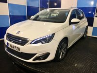 """USED 2014 64 PEUGEOT 308 1.6 E-HDI ALLURE 5d 114 BHP A stunning example of this very highly regarded family diesel hatchback finished in unmarked white paintwork complemented with two tone 17"""" alloy wheels coming equiped with satelite navigation,bluetooth phone preparation,climate control,front and rear parking sensors with reversing camera,tyre pressure monitoring system plus so much more,this car looks and drives superbly inside and out. Zero road tax and a combined ecconomy of 74.3mpg make this a very atractive package definitely one to concide"""