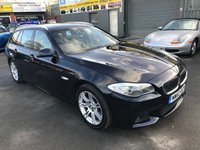 2012 BMW 5 SERIES 2.0 520D M SPORT TOURING 5d AUTO 181 BHP IN BLACK WITH BLACK LEATHER WITH 66000 MILES IN IMMACULATE CONDITION. £12399.00