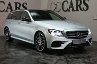 USED 2017 67 MERCEDES-BENZ E CLASS 2.0 E 220 D AMG LINE PREMIUM PLUS 5d AUTO 192 BHP A Luxuriously Appointed Executive Estate with Impressive Performance, AMG Sport Styling and a Practical 5 Seat Interior with Room for the Whole Family and their Luggage. This High-End E220D is the Premium Plus Model with Impressive Tech and a Stunning Spacious Interior Including Black Wood Inlays, Ambient Lighting and a Glass Panoramic Roof. Finished in Silver with 20 Inch Multispoke Alloys and Full Black Leather Heated Contour Memory Seats with Contrast Stitch. Technology Includes Sat Nav...