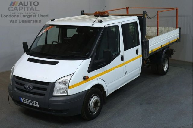 2010 10 FORD TRANSIT 2.4 350 100 BHP LWB D/CAB 6 SEATER COMBI TWIN WHEEL TIPPER  REAR BED LENGTH 9 FOOT 4 INCH