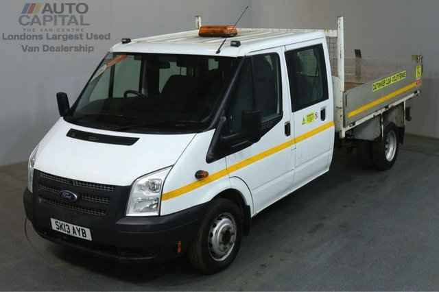 2013 13 FORD TRANSIT 2.2 350 124 BHP LWB D/CAB 6 SEATER COMBI TIPPER REAR BED LENGTH 9 FOOT 2 INCH
