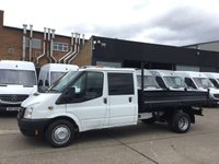 USED 2014 64 FORD TRANSIT 2.2TDCI T350 LWB TIPPER DOUBLE CAB PICK UP TWIN WHEEL. LOW RATE FINANCE. PX WELCOME. 1 OWNER. FULL SERVICE.