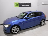 USED 2014 14 BMW 1 SERIES 2.0 116D M SPORT 5d AUTO 114 BHP AMAZING CAR IN THE BEST COLOUR ESTORIL BLUE, WITH IMMACULATE BLACK INTERIOR WITH CLOTH/ANIHRAC TRIM AND A LEATHER CLAD  MULTI FUNCTION STEERING WHEEL, DAB RADIO CD WITH AUX/USB CONNECTIONS, SAT NAV, PARKING SENSORS, STOP START TECHNOLOGY, SPORT/ECO BUTTON, 18INCH UPGRADED ALLOYS, ELEC WINDOWS/MIRRORS , COMFORT PACK, RAIN SENSORS