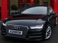 USED 2016 66 AUDI A7 SPORTBACK 3.0 TDI ULTRA S LINE 5d AUTO 215 S/S 1 OWNER FROM NEW, FULL AUDI SERV HISTORY, BALANCE OF AUDI WARRANTY, FULL BLACK LEATHER, HEATED FRONT SEATS, DAB RADIO, BLUETOOTH PHONE & MUSIC, LED LIGHTS, DIRECTIONAL SWEEPING INDICATORS,  ACTIVE REAR SPOILER, ELEC TAILGATE, ELEC SEATS W/ DRIVER MEMORY, SPORT SEATS W/ ELEC LUMBAR SUPPORT, CRUISE, LIGHT & RAIN SENSORS W/ AUTO DIM REAR VIEW, PADDLE SHIFT, AUTO HOLD, 4 ZONE CLIMATE CONTROL, AUDI MUSIC INTERFACE, 2x SD CARD READERS, AUDI DRIVE SELECT, TYRE MONITOR, ALUMINIUM PEDALS, VAT QUALIFYING.