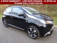 USED 2015 15 TOYOTA AYGO 1.0 VVT-I X-CLUSIV 5d 69 BHP All retail cars sold are fully prepared and include - Oil & filter service, 6 months warranty, minimum 6 months Mot, 12 months AA breakdown cover, HPI vehicle check assuring you that your new vehicle will have no registered accident claims reported, or any outstanding finance, Government VOSA Mot mileage check. Because we are an AA approved dealer, all our vehicles come with free AA breakdown cover and a free AA history check.. Low rate finance available. Up to 3 years warranty available.