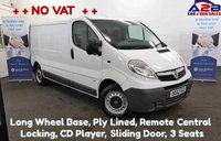 2012 VAUXHALL VIVARO 2.0 CDTi 2900 115 BHP with ++NO VAT++ Long Wheel Base, Ply Lined, CD Player, Metal Bulkhead, 3 Seats £6480.00