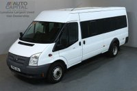 USED 2012 12 FORD TRANSIT 2.2 430 17 STR 134 BHP EXTRA LWB M/ROOF TWIN WHEEL MINIBUS 4100 KG