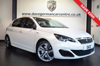 USED 2015 15 PEUGEOT 308 2.0 BLUE HDI S/S GT 5DR AUTO 180 BHP * WAS £12,470 SAVE £200 * WHITE WITH FULL BLACK LEATHER INTERIOR + FULL SERVICE HISTORY + SATELLITE NAVIGATION + BLUETOOTH + REVERSE CAMERA + HEATED SEATS + DAB RADIO + CRUISE CONTROL + FRONT/REAR PARKING SENSORS + 18 INCH ALLOY WHEELS
