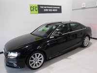USED 2009 59 AUDI A4 2.0 TDI S LINE 4d 141 BHP BEAUTIFUL CAR FINISHED IN GLEAMING BLACK,  FULL SERVICEI HISTORY 6 STAMPS, THIS CAR HAS BEEN SERVICED REGARDLESS OF COST WITH SOME NICE SPECIFICATIONS, HALF LEATHER INTERIOR ,  DRL HEADLAMPS,,DUAL CLIMATE CONTROL, ELEC HEATED MIRRORS, TWIN BAR 18INCH UPGRADED ALLOYS, FLAT BOTTOM,MULTI FUNCTION LEATHER CLAD STEERING WHEEL, AUDI MULTI MEDIA SYSTEMS WITH USB AND AUX POINTS. BLUE TOOTH PHONE PREP