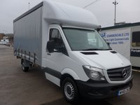 USED 2015 65 MERCEDES-BENZ SPRINTER 313 CDI LWB 16FT CURTAIN SIDER, 130 BHP [EURO 5], 1 COMPANY OWNER