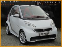 USED 2012 62 SMART FORTWO CABRIO 1.0 PASSION MHD 2d AUTO 71 BHP *SAT NAV, BLUETOOTH, RED ROOF!*