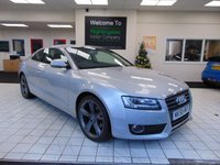 "USED 2008 58 AUDI A5 2.7 TDI SPORT 3d AUTO 187 BHP FULL SERVICE HISTORY + BLUETOOTH + FULL LEATHER SEATS + HEATED FRONT SEATS + 19"" ALLOYS + CRUISE CONTROL + CLIMATE CONTROL + ICE SILVER"