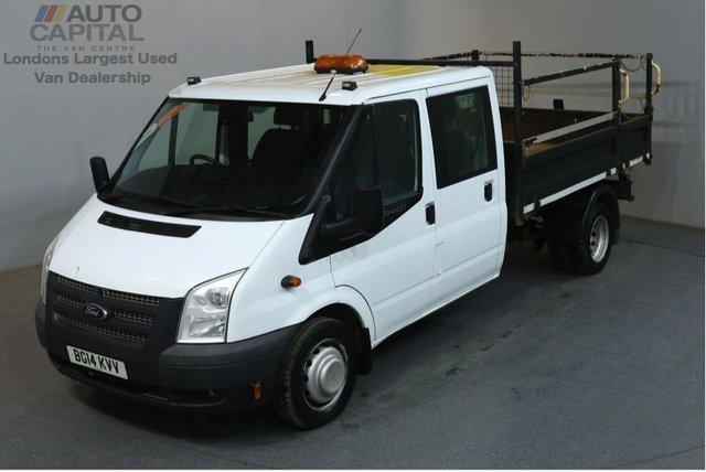 2014 14 FORD TRANSIT 2.2 350 124 BHP LWB 6 SEATER COMBI TWIN WHEEL TIPPER  REAR BED LENGTH 9 FOOT & 4 IN