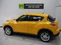 USED 2015 15 NISSAN JUKE 1.5 ACENTA PREMIUM DCI 5d 110 BHP GREAT CAR WITH FULL SERVICE HISTORY, GLEAMING YELLOW, BLUETOOTH PHONE PREP, ELEC WINDOWS ALL, ROUND, MOBIL,SAT NAV. LEATHER CLAD MULTI FUNCTION STEERING WHEEL CRUSE CONTROL, ELEC FOLDING MIRRORS AINTREE GARAGES