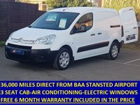 2010 CITROEN BERLINGO 3 SEAT 625LX 90BHP WITH ONLY 36,000 MILES AND AIR CONDITIONING £4495.00