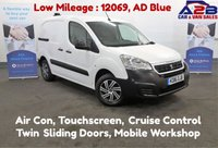 2016 PEUGEOT PARTNER 1.6 HDI 100bhp PROFESSIONAL with Low Mileage, Air Conditioning, Touch Screen, Mobile Workshop, Bluetooth, 2 Side Loading Doors £7980.00