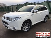 USED 2014 64 MITSUBISHI OUTLANDER 0.0 PHEV GX 4H 5d AUTO 162 BHP SAT NAV SUNROOF LEATHER ONE OWNER SATELLITE NAVIGATION. SUNROOF. STUNNING WHITE WITH FULL BLACK LEATHER TRIM. ELECTRIC HEATED SEATS. CRUISE CONTROL. 18 INCH ALLOYS. COLOUR CODED TRIMS. PRIVACY GLASS. PARKING SENSORS. BLUETOOTH PREP. DUAL CLIMATE CONTROL INCLUDING AIR CON. MEDIA CONNECTIVITY. MFSW. MOT 11/19. ONE OWNER FROM NEW. SERVICE HISTORY. SUV & 4X4 CAR CENTRE LS23 7FR. TEL 01937 849492 OPTION 2