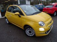 USED 2015 65 FIAT 500 0.9 TWINAIR CONVERTIBLE LOUNGE 3d 85 BHP NEW SHAPE Low Mileage, Full Service History (Fiat + ourselves), One Lady Owner from new, MOT until January 2020, Convertible New Shape Model