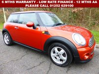 USED 2011 11 MINI HATCH COOPER 1.6 COOPER 3d 122 BHP All retail cars sold are fully prepared and include - Oil & filter service, 6 months warranty, minimum 6 months Mot, 12 months AA breakdown cover, HPI vehicle check assuring you that your new vehicle will have no registered accident claims reported, or any outstanding finance, Government VOSA Mot mileage check.     Because we are an AA approved dealer, all our vehicles come with free AA breakdown cover and a free AA history check. Low rate finance available. Up to 3 years warranty available.