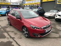 USED 2016 65 PEUGEOT 308 1.2 PURETECH S/S GT LINE 5 DOOR AUTOMATIC 130 BHP IN RED WITH BLACK LEATHER AND ONLY 58000 MILES. APPROVED CARS ARE PLEASED TO OFFER THIS PEUGEOT 308 1.2 PURETECH S/S GT LINE 5 DOOR AUTOMATIC 130 BHP IN RED WITH A FULL BLACK LEATHER INTERIOR,LEATHER INTERIOR,AIR CON,BLUETOOTH,CRUISE CONTROL,FRONT AND REAR SENSORS,REAR CAMERA,PANORAMIC ROOF,SAT NAV,DAB RADIO AND SO MUCH MORE WITH A FULL PEUGEOT MAIN DEALER SERVICE HISTORY SERVICED AT 16K,32K AND 49K A STUNNING HIGH SPEC AUTOMATIC CAR.