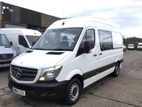 USED 2015 64 MERCEDES-BENZ SPRINTER 2.1 313CDI MWB HIGH ROOF 130BHP CREW CAB 6 SEATS. FSH. 6 SEATS CREW CAB. LOW FINANCE. PX WELCOME