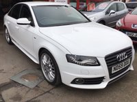 USED 2009 59 AUDI A4 2.0 TDI S LINE 4d 168 BHP A4 S-line, diesel, white, bbs alloys, 6 speed, superb.