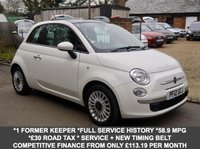 USED 2012 12 FIAT 500 1.2 Lounge 3 Door Hatchback In White With Panoramic Sunroof
