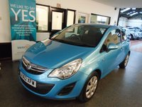 USED 2012 62 VAUXHALL CORSA 1.4 EXCLUSIV AC 3d 98 BHP Two private owners, full Vauxhall service history- 6 stamps. September 2019 advisory free Mot. Fitted with Air Con & rear park sensors. Finished in Metallic Oriental Blue.