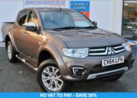 USED 2014 64 MITSUBISHI L200 2.5 DI-D 4X4 BARBARIAN Double Cab 5 Seat Pickup with NO VAT TO PAY so SAVE 20% High Spec Full Service History Heated Leather Seats Side Steps Towbar Tinted Glass ***ONE OWNER FROM NEW***