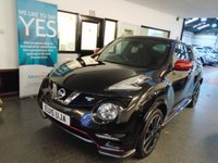 USED 2015 15 NISSAN JUKE 1.6 NISMO RS DIG-T 5d 218 BHP Two lady owners, full service history, supplied with January 2020 Mot. Finished in Pearl Black with Red mirror caps and accent trims.
