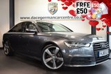 """USED 2015 65 AUDI A6 2.0 TDI ULTRA S LINE BLACK EDITION 4DR AUTO 188 BHP full audi service history FINISHED IN STUNNING DAYTONA METALLIC GREY WITH FULL LEATHER INTERIOR + EXCELLENT SERVICE HISTORY + SATELLITE NAVIGATION + BLUETOOTH + HEATED SEATS + DAB RADIO + SUNROOF + BOSE SPEAKERS + CRUISE CONTROL + RAIN SENSORS + HEATED MIRRORS + PARKING SENSORS + 20"""" ALLOY WHEELS"""