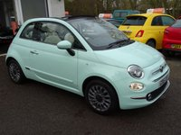 USED 2016 16 FIAT 500 1.2 CONVERTIBLE LOUNGE 3d 69 BHP NEW SHAPE Full Fiat Service History + Serviced by ourselves, One Lady Owner from new, Minimum 8 months MOT, Convertible, Great fuel economy! Only £20 Road Tax! New Shape model finished in Smooth Green Mint. Balance of Fiat Warranty until June 2019