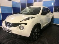 """USED 2013 63 NISSAN JUKE 1.6 N-TEC 5d 115 BHP A truely stunning example of this very highly regarded suv finished in unmarked white paintwork contrasted with two tone 18"""" alloy wheels,this car comes equipped with satelite navigation ,bluetooth phone preparation.cruise control/speed limiter,digital climate control ,cd radio with usb and aux imputs,front and rear fog lamps ,reverse camera plus all the usual refinements ,it comes fully serviced,full 12 months mot ,AA cover and 12 months parts and labour warranty,definitely one to concider."""