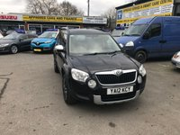 USED 2012 12 SKODA YETI 1.2 URBAN TSI 5 DOOR 105 BHP IN SOLID BLACK WITH 82000 MILES WITH ONLY 1 OWNER AND A FULL SERVICE HISTORY. APPROVED CARS ARE PLEASED TO OFFER THIS SKODA YETI 1.2 URBAN TSI 5 DOOR 105 BHP IN SOLID BLACK WITH 82000 MILES WITH ONLY 1 PRIVATE OWNER FROM NEW WITH A FULL SERVICE HISTORY WITH 6 SERVICE STAMPS IN THE SERVICE BOOK AND A GREAT SPEC INCLUDING DIAMOND CUT ALLOYS,SAT NAV,REAR SENSORS,BLUETOOTH AND MUCH MORE A GREAT YETI SMALL ENGINE PETROL AND VERY RARE.