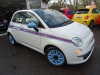 """USED 2014 14 FIAT 500 0.9 TWINAIR LOUNGE 3d 85 BHP *MARTINI SPECIAL EDITION* *MARTINI SPECIAL EDITION* with Baby Blue 15"""" Alloy Wheels and matching Wing Mirrors, completely unique to Bunny Motors! Low Mileage, Comprehensive Service History + Serviced by ourselves, One Owner, Minimum 8 months MOT, Excellent fuel economy! ZERO Road Tax!"""