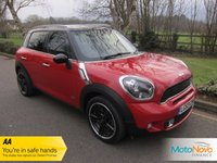 """USED 2013 63 MINI COUNTRYMAN 1.6 COOPER S ALL4 5d 184 BHP Fantastic High Spec Four Wheel Drive Mini Countryman with Satellite Navigation, Glass Panoramic Roof, Full Grey Leather, 18"""" Alloy Wheels, Harman Kardon Music Upgrade, Lady Owner and Mini Service History.     5* Dealer Reviews - New MOT - HPI Clear - Free 1 Year AA Breakdown - Service History & Warranty all included. Low & Competitive Finance Rates Available (subject to status)"""
