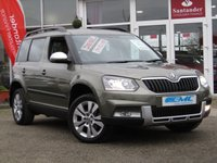 USED 2015 65 SKODA YETI 2.0 OUTDOOR SE L TDI SCR 5d 109 BHP STUNNING, £30 Road Tax, 1 Owner from New, SKODA YETI 2.0 TDI OUTDOOR SE L SCR. Finished in Jungle Green Metalic with contrasting Full Heated Cream Leather. This cool and quirky small SUV is roomy and offers economy and reliability associated with the VW brand. Features include Xenon Lights, Cruise, LED run lights, Power folding door mirrors Rear Sensors and much more.