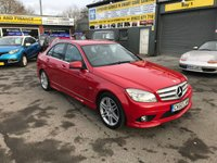 2010 MERCEDES-BENZ C CLASS 1.8 C180 CGI BLUEEFFICIENCY SPORT 4 DOOR AUTOMATIC 156 BHP IN BRIGHT RED WITH BLACK LEATHER INTERIOR AND 71000 MILES £7499.00