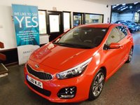 "USED 2018 18 KIA CEED 1.6 CRDI GT-LINE ISG 5d 134 BHP This Kia Cee'd is finished in Metallic Fuerto Red with Black and Grey seats. It is fitted with power steering, remote locking, electric windows and mirrors with power fold, climate control, cruise control, rear parking camera, tinted rear glass, auto lights, 8 LED Day spot lights, xenon lights, Satellite Navigation, DAB Radio & Bluetooth, 17"" diamond cut two tone black and grey alloy wheels, space saver spare wheel, CD Stereo with Aux & USB port and more. It has had dealer + 1 owner from new."