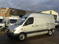 USED 2015 15 MERCEDES-BENZ SPRINTER 2.1 313CDI MWB HIGH ROOF 130BHP SILVER. BLUE EFFICIENCY 0% DEPOSIT FINANCE. 1 OWNER. FULL SERVICE HISTORY.