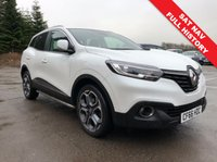 USED 2017 66 RENAULT KADJAR 1.5 DYNAMIQUE S NAV DCI 5d 110 BHP Stunning Renault Kadjar in stunning Metallic Artic White comes with Full Service History, SAT NAV, Half Leather, Privacy Glass, Parking Sensors, Keyless Entry, Electrically Operated Folding Wing Mirrors, Cruise Control, Renault R Link 7 inch touchscreen, DAB Radio, Leather Multi Functional Steering Wheel, Air Con, Bluetooth, Alloys, MOT February 2020 and the balance of Renault Warranty and Roadside assist until February 2020. Nationwide Delivery. Finance Available at 9.9% APR Representative.
