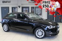 USED 2013 13 AUDI A3 1.2 TFSI SE 3d 104 BHP Full Service History FINISHED IN STUNNING BLACK WITH BLACK CLOTH SEATS + FULL SERVICE HISTORY + BLUETOOTH + £30 ROAD TAX + 16 INCH ALLOYS + AIR CONDITIONING + MILTI STEERING....