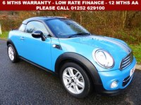 USED 2013 13 MINI COUPE 1.6 COOPER 2d 120 BHP All retail cars sold are fully prepared and include - Oil & filter service, 6 months warranty, minimum 6 months Mot, 12 months AA breakdown cover, HPI vehicle check assuring you that your new vehicle will have no registered accident claims reported, or any outstanding finance, Government VOSA Mot mileage check.     Because we are an AA approved dealer, all our vehicles come with free AA breakdown cover and a free AA history check. Low rate finance available. Up to 3 years warranty available.