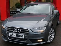 USED 2014 64 AUDI A4 2.0 TDI QUATTRO SE TECHNIK 4d AUTO 177 S/S 1 OWNER FROM NEW, FULL AUDI SERVICE HISTORY, UPGRADE HEATED FRONT SEATS, UPGRADE BANG & OLUFSEN SOUND SYSTEM, UPGRADE HILL HOLD ASSIST, HDD SAT NAV WITH JUKEBOX & DVD PLAYBACK (MMI NAVIGATION PLUS), FULL BLACK LEATHER INTERIOR, DAB RADIO, WIRELESS LAN CONNECTION (WLAN), BLUETOOTH MOBILE PHONE PREP WITH MUSIC STREAMING, AUDI MUSIC INTERFACE, , QUATTRO 4 WHEEL DRIVE, MMI WITH 2x SD CARD READERS, FRONT & REAR PARKING SENSORS, FRONT FOG LIGHTS, 18 INCH 10 SPOKE ALLOYS, LEATHER MFSW, CRUISE CONTROL