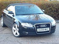 USED 2008 08 AUDI A4 3.1 FSI S LINE 2d AUTO 255 BHP FULL SERVICE HISTORY WITH SERVICE AT 7K, 19K, 41K, 44K, 48K. AUTO, CONVERTIBLE , LOW MILEAGE, HEATED SEATS, CLIMATE CONTROL, SAT NAV.  WE  FULLY PREPARE OUR CARS TO INCLUDE A NEW MOT WITH NO ADVISORIES, A FULL VALET, AND A 6 MONTH MAJOR MECHANICAL BREAKDOWN WARRANTY.